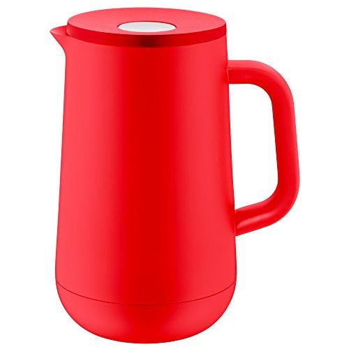 WMF Impulse Thermoskanne 1l, Isolierkanne für Tee oder Kaffee, Druckverschluss, hält Getränke 24h kalt & warm, rot