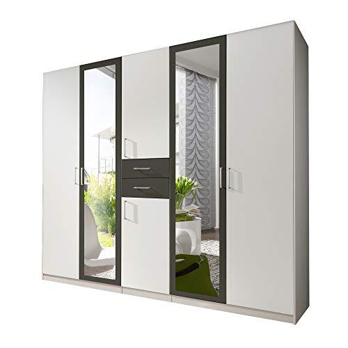 lifestyle4living Kleiderschrank mit Spiegel, Alpin-Weiß, Graphit-Grau, 225 cm | Drehtürenschrank 6 türig mit 2 Schubladen im modernen Stil