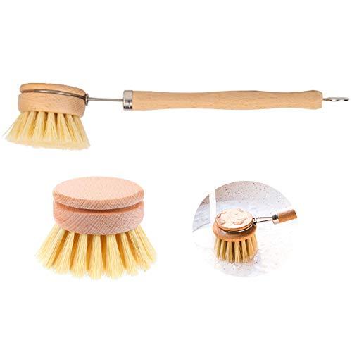 Cepillo para Platos Cabezal Reemplazable Cepillo para Platos Cerdas de Madera Natural Cepillo para Platos con Cabezal de Repuesto Juego de Cepillo para Platos para Cocina Baño Hogar (2 Piezas)