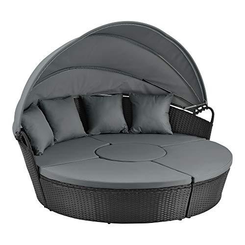 [en.casa] Sonneninsel 145x180cm Polyrattan Garten-Sitzgruppe 4-Teilig Loungeset mit Ausklappbarem Sonnendach Sonnenliege Schwarz/Grau