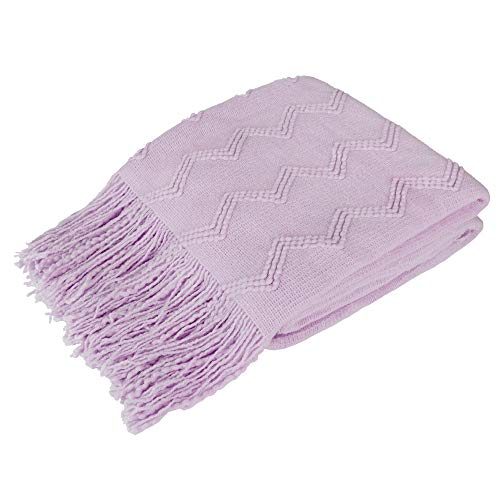 PAVILIA Knitted Throw Blanket Fringe Lilac Lavender Light Purple | Decorative Tassel Boho Farmhouse Decor Couch Bed Sofa Spring Outdoor | Aesthetic Textured Afghan Soft Lightweight Cozy Acrylic 50x60
