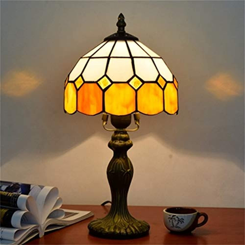 Xiuxiu Europische Kreative Retro Glasmalerei Tischlampe Schlafzimmer Nachttischlampe Esszimmer Wohnzimmer Bar Dekoration Tischlampe (Farbe   Orange)