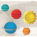 Amscan 2402278 - Laternenset Blast Off, 5 Stück, Weltall, Planeten, Mottoparty, Karneval