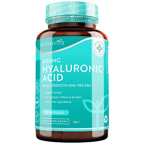 Hyaluronic Acid Capsules - One Month Supply of 600mg Hyaluronic Acid Capsules - High Dose with 500-700 KDA - GMO Free with No Synthetic Fillers or Binders - Made in The UK by Nutravita