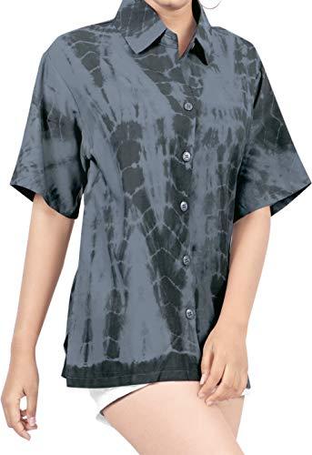 LA LEELA hawajska bluzka   Koszulki dla kobiet chłopca   Krótki rękaw   Bluzka na imprezę plażową   lato na co dzień   luźny aloha   XS - 3XL   Rayon 1   Farba do krawata TD182