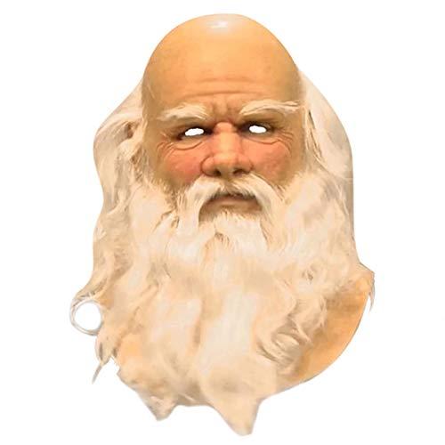 Tenflyer Christmas White Beard Old Man Headgear Costume Party Cosplay Latex Headgear