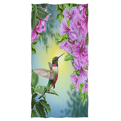 "Wamika Hummingbird Flowers Hand Towels Ultra Soft Floral Bird Face Towel Highly Absorbent Guest Travel Towel Portable Kitchen Washcloths Bathroom Decor 16"" x 30"""