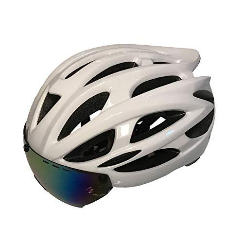 boaber Casco de ciclismo con Bluetooth, para bicicleta de montaña, con Bluetooth, integrado, integrado, magnético, para hombres y mujeres, casco de seguridad transpirable (color: blanco)