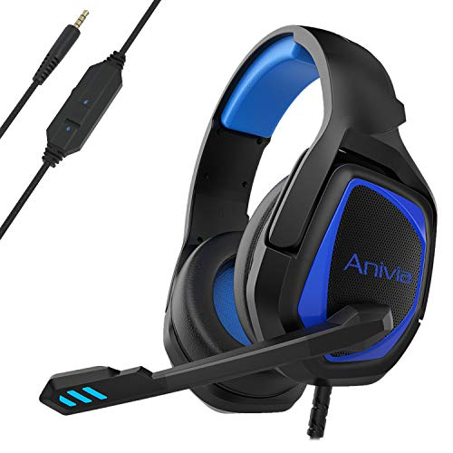 Stereo Gaming Headset for PS4 PC Xbox One Controller Noise Cancelling - Anivia Over Ear Headphones with Mic, Bass Surround, Soft Memory Earmuffs for Laptop Mac Nintendo Switch (MH602 Black Blue)