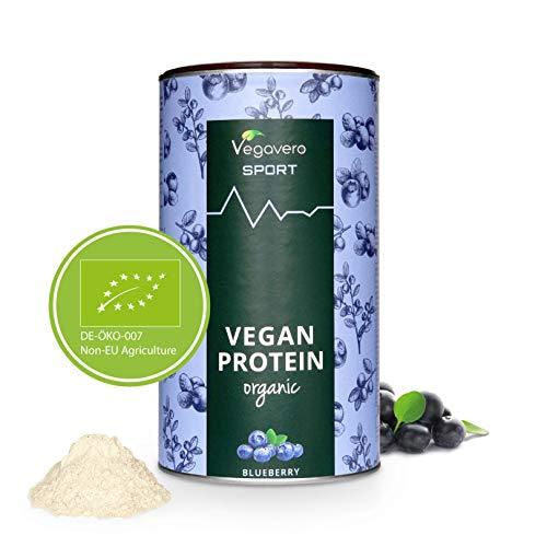 PROTEINE Vegane BIO Vegavero | Misurino INCLUSO! | Proteine Isolate Pisello e Riso | Senza Aspartame o Sucralosio | Gusto MIRTILLO | 500 g