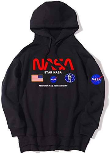 Cute Totoro NASA Bomber Hoodies Neutrale Winddichte Langarm-Sweatshirts Bequeme Thicken Logo Sportswear (Black,XXXL)