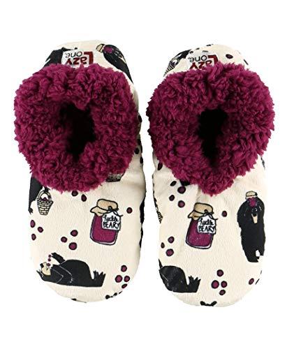 Lazy One Fuzzy Feet Slippers for Women, Cute Fleece-Lined House Slippers, Huckleberry, Bear, Jam, Non-Skid
