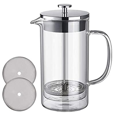 French Press Coffee Maker Tea Pot Double Wall Borosilicate Glass 304 Stainless Steel Clear Coffee Press 600 ml 20 oz-UNNKI