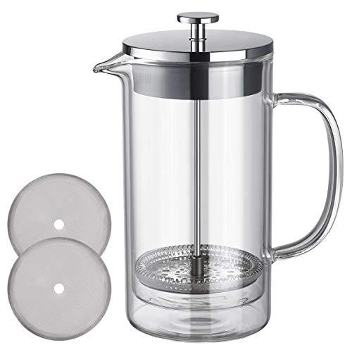 Unnki französische Presse, Kaffeemaschine, Teekanne, doppelwandiges Borosilikatglas, Edelstahl 304, klare Kaffeepresse, 600 ml