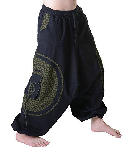 KUNST UND MAGIE Trendige Haremshose Bunte Muster Goa Hippie Hose, Größe:L/XL, Farbe:Schwarz/Army Green