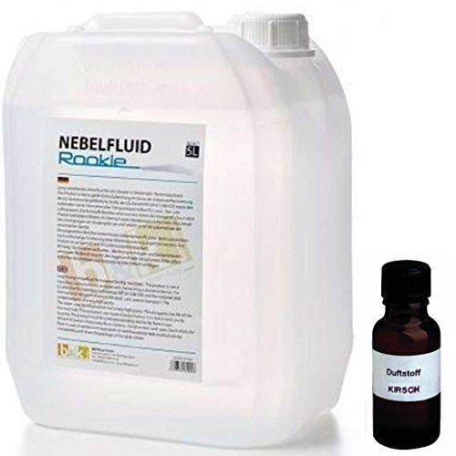 5 Liter DJPower Nebelfluid ROOKIE + 30 ml Duftstoff Kirsche, Smoke-Fluid, Nebel-Fluid-Flüssigkeit für Nebelmaschine