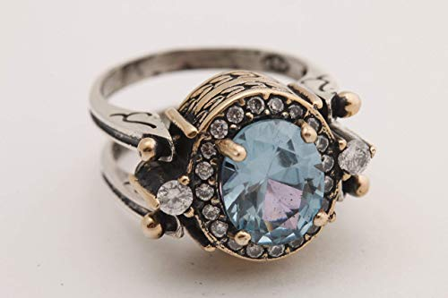 Turkish Handmade Special Design Jewelry 2 rings in 1 ring Reversible Oval Cut London Blue Topaz 925 Sterling Silver Ladie's Ring All Size