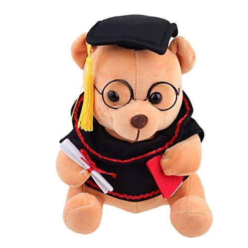 Abaodam 18 cm de color marrón claro adorable peluche oso de peluche con forma de sombrero de graduación muñeca suave de graduación juguete decorativo foto accesorios regalo de graduación