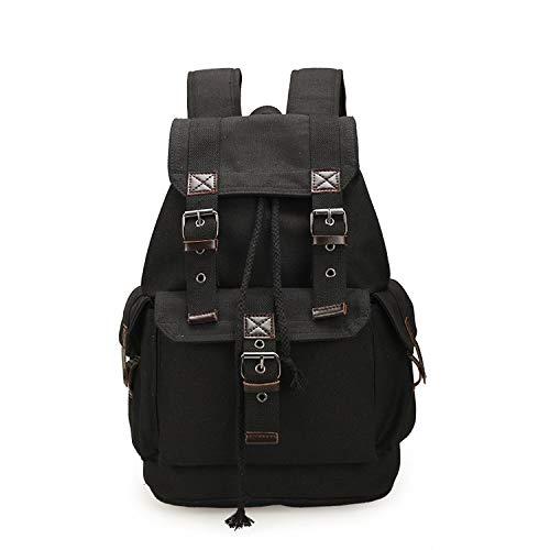 Himora basic-multipurpose-backpacks Tela Vintage Zaino Uomini Ragazzi Ragazzi Zaini Studenti Scuola Viaggio Zaino Grande Capacità Coulisse Borse -  Nero -  Taglia unica