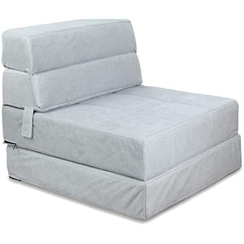Vitabo Schlafsessel klappbar, gemütlicher Klappsessel, weicher Bodensessel und Gästebett, Faltbarer Bettsessel, Klappmatratze um Sitzen und Liegen, 70 x 190 x 15 cm (Silbergrau)