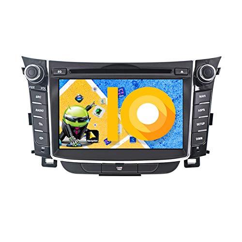 ZWNAV 7 Pulgadas Andriod 9.0 Double DIN Auto Stereo Navi Bluetooth GPS Navigation para Hyundai I30 Elantra GT 2012-2016 Unidad de Control del Volante WiFi USB Carplay Mirror Link (4G RAM 64G ROM)