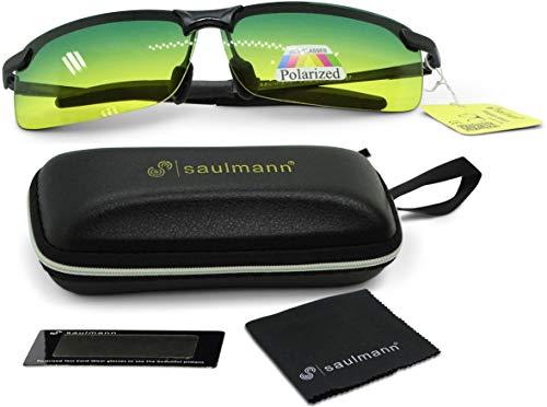 Saulmann® Polarisierte Tag- / Nachtsichtbrille, UV-Schutz Kontrastbrille, Blendschutz Sonnenbrille für Auto Fahren, Sport und andere Outdoor Aktivitäten, Ultraleichtes Metal-Gestell – SM6787