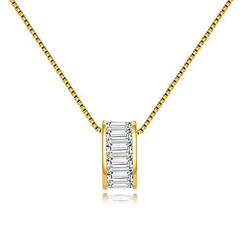 Collar de plata de ley con colgante de circonita cúbica para mujer SN178-G