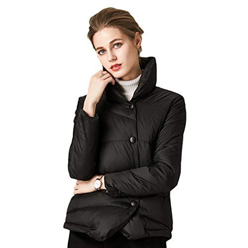 Damen Kurze Daunenjacke, Ultraleicht Dünn Hoher Kragen Mantel Winter Warme Daunenjacke,Black,S