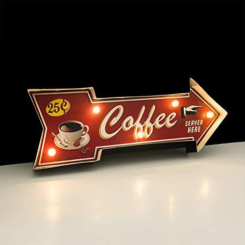 FSVEYL Enseignes lumineuses Décorations Murales De Café, Décor En étain Gaufré Fait à La Main Vintage en Métal, Signe de Suspension Murale de Style Industriel, Pour La, Bar,Cuisine (Sever)