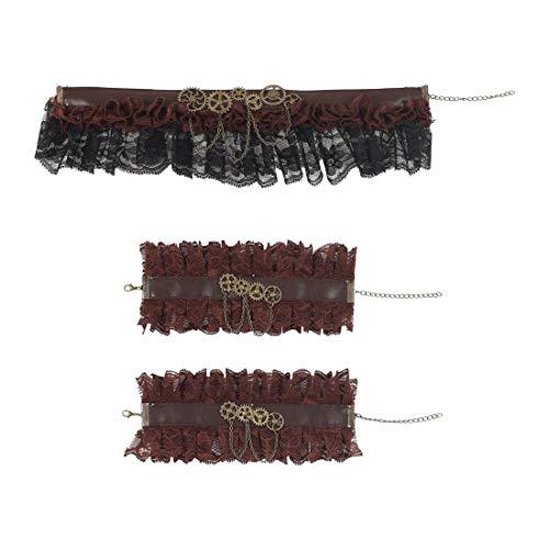 NET TOYS Steampunk Rüschen-Accessoires | Braun-Schwarz | Aufwendiges Damen-Kostüm-Zubehör Halsband & Manschetten aus Spitze | Perfekt geeignet für Mottoparty & Kostümfest