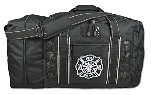 Newly Redesigned Lightning X Firefighter Fireman Quad-vent Turnout Gear Bag w/ Helmet Compartment, Mesh Vents & Maltese Cross for First Responder (Black)