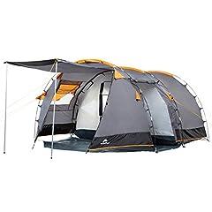 Campe de tunnel pour 4 personnes | Grande tente familiale avec 2 entrées et 3000 mm de colonne d'eau | Tente de groupe | gris | Campingzelt | C'est amusant, le camping !