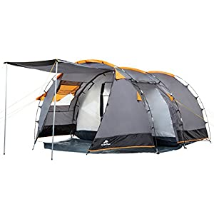CampFeuer - Tunnel Tent, 410 x 260 x 150 cm, 4 Person, Orange / Grey / Black
