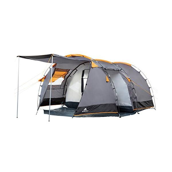 CampFeuer - Tunnel Tent, 410 x 260 x 150 cm, 4 Person, Orange / Grey / Black