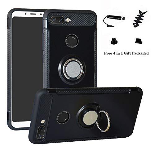 LFDZ Xiaomi Mi 8 Lite Anillo Soporte Funda 360 Grados Giratorio Ring Grip con Gel TPU Case Carcasa Fundas para Xiaomi Mi 8 Lite Smartphone (Not fit Xiao Mi 8),Negro