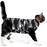 Suitical Recovery Suit for Cats (Black Camouflage)