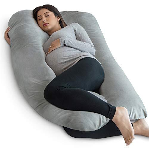 PharMeDoc Pregnancy Pillow, U-Shape Full Body Pillow and Maternity Support Velvet Grey - Support for Back, Hips, Legs, Belly for Pregnant Women