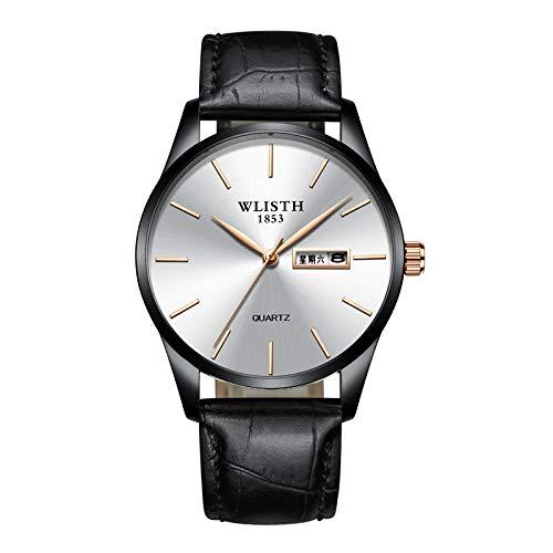 Relojes para Hombre Reloj de Cuarzo analógico Impermeable con cronógrafo para Hombre -D