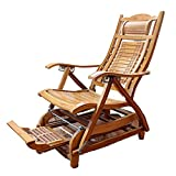 Tumbonas XIAOR Bambú de Ajuste Sol Plegable Masaje de Pies Pausa para el Almuerzo Sillones Reclinables con Masaje de Espalda Cuentas Jardín Balcón Cama