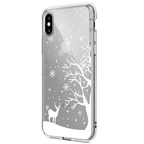 Clair Coque iPhone X,Coque iPhone X Transparente,iPhone X Etui en Silicone Extra Slim Léger Gel TPU Souple Etui Bumper Créatif Noël Christmas Flocon de Neige élan Motif Case Cover