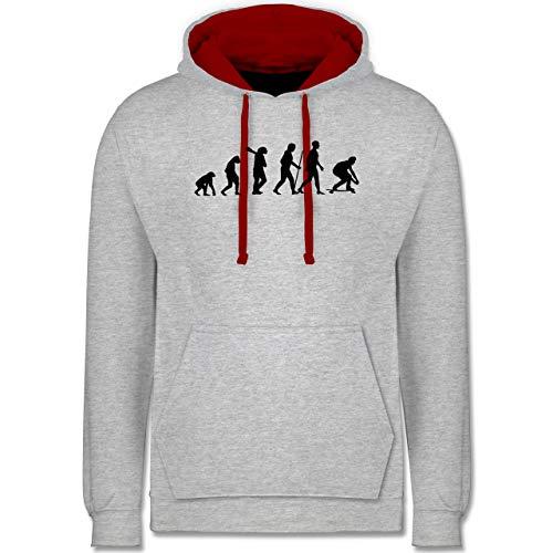 Shirtracer Entwicklung und Evolution Outfit - Longboard Evolution - S - Grau meliert/Rot - Longboard Hoodie - JH003 - Hoodie zweifarbig und Kapuzenpullover für Herren und Damen