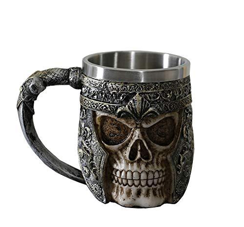 OTARTU Totenkopf-Kaffeetasse, 370 ml, Wikinger-Totenkopf-Bierbecher, Edelstahl-Futter, Geschenk für Männer, Vatertagsgeschenke