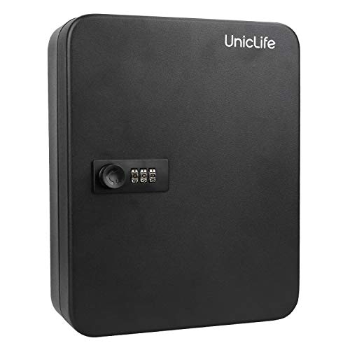 Uniclife Key Cabinet 100 Key Lock Box Steel Security Safe Box with Combination Lock, Black