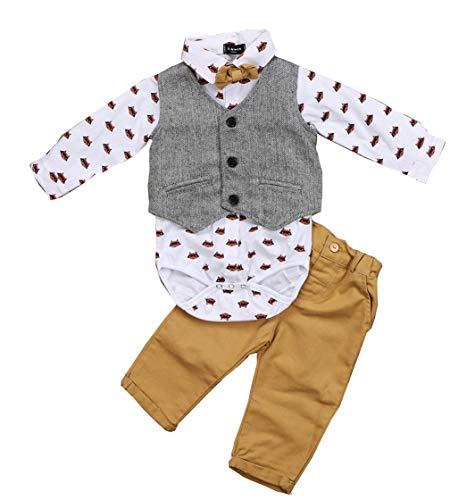 Conjunto de 3 piezas para bebé Gentleman Suit con impresión de manga larga con corbata de mariposa + panzúas + pantalones largos vestido formal conjunto de 0 – 2 años, marrón, 12- 18 meses