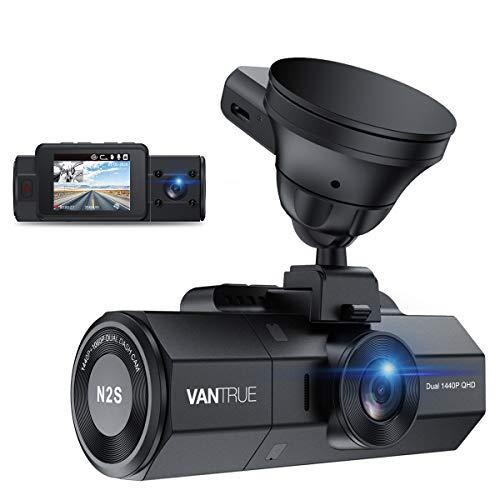 VANTRUE N2S 4K GPS Dashcam Dual Lens 1440P+1440P Infrarot-Cut Nachtsicht Auto Kamera Vorne Hinten, 24 Std. Parküberwachung, 3840x 2160P vorn, 2 Zoll 320° Superkondensator Dash Cam G Sensor Max. 256GB