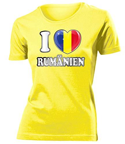 Rumänien Romania Fan t Shirt Artikel 5015 Fuss Ball World Cup Jersey EM 2020 WM 2022 Trikot Look Flagge Fahne Team Frauen Damen Mädchen M