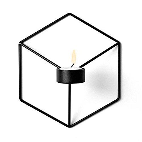 Gluckliy 3D Geometrischer Metall kerzenständer Wand Kerzenhalter Leuchter Home Decor (Schwarz)