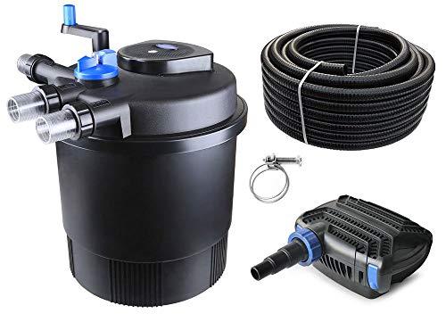 AquaOne Teich Filteranlage Set Nr.23 CPF 20000 Druckfilter 80W Eco Teichpumpe Teichgröße bis 40000l Teichschlauch Bachlauf UV Lampe