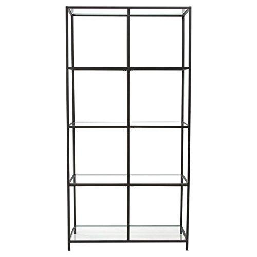 Pureday miaVILLA Regal Larson - Modernes Standregal - Metall Glas- Schwarz