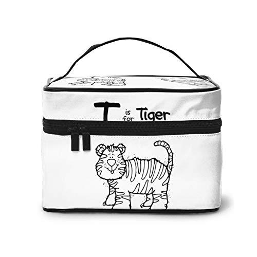Tiger Strong Brave Tiger - Bolsa de maquillaje, bolsa de cosméticos de viaje portátil para mujeres, organizador de maquillaje con cremallera, estuche de accesorios, estuche de herramientas